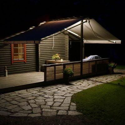 Led strip lighting installed on terrace beam.