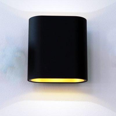 OVAL B&G musta-kulta seinävalaisin ylös ja alas valaiseva LedStore.fi