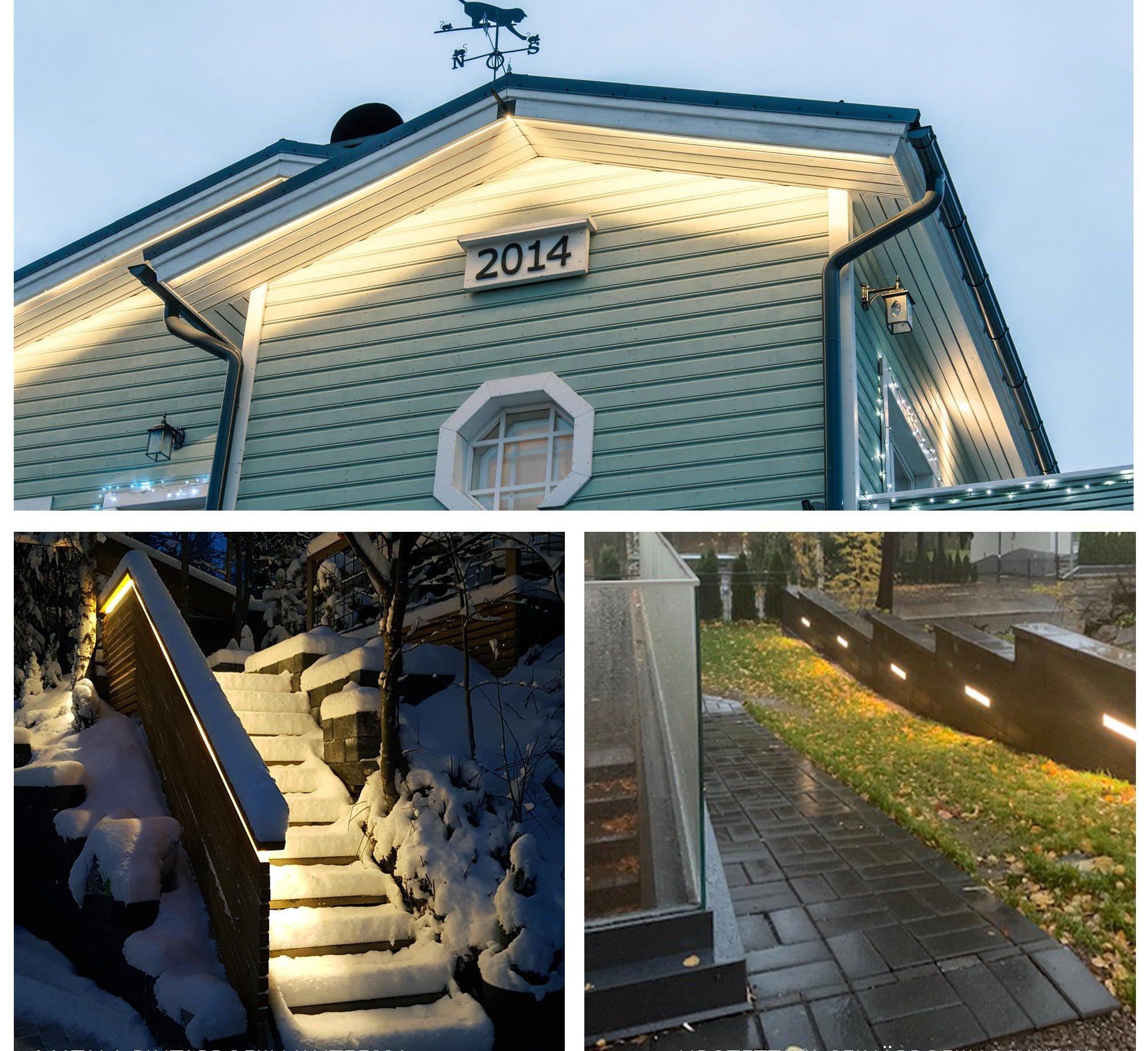Alumiinilista ja led-nauha katon harjassa, ulkoportaiden käsijohteessa ja muurivalaistuksessa