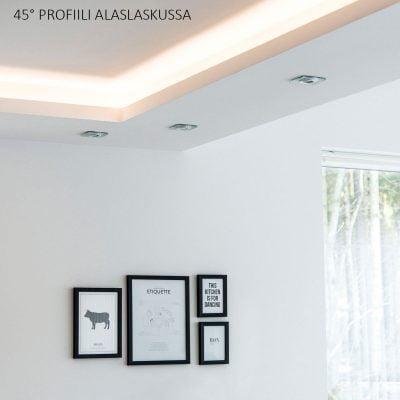 Alumiinilista ja led-nauha huonetta kiertävässä alaslaskussa